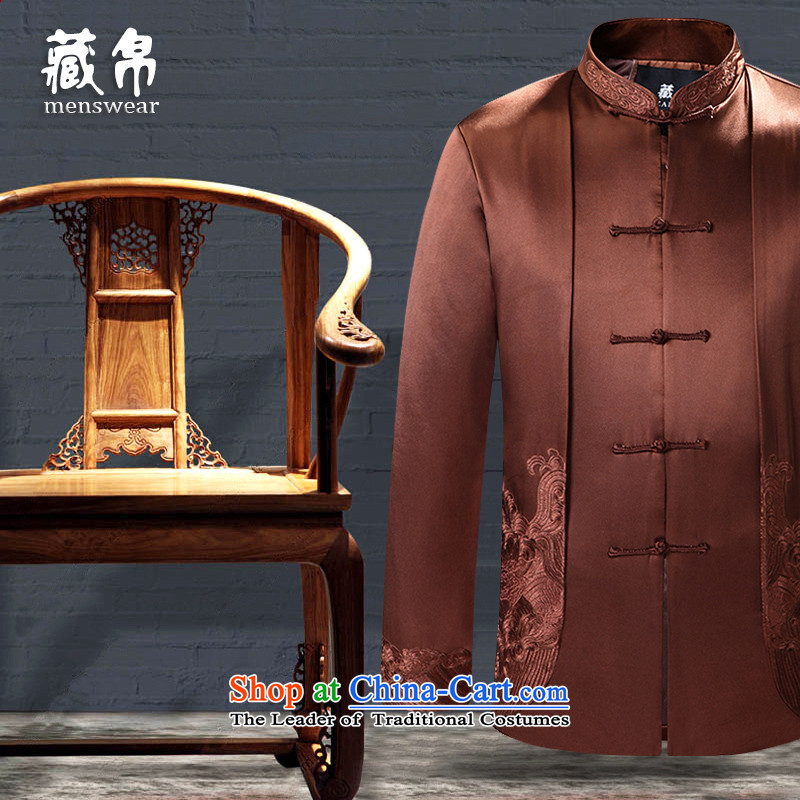 9The autumn and winter possession of Tang Dynasty cotton coat embroidered snap-collar banquet dress Chinese China wind load coffee-colored聽7766 father 175_L