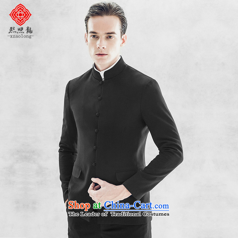 Hee-Snapshot Lung China wind collar Chinese tunic jacket Sau San Men long-sleeved black dress is Chinese XL