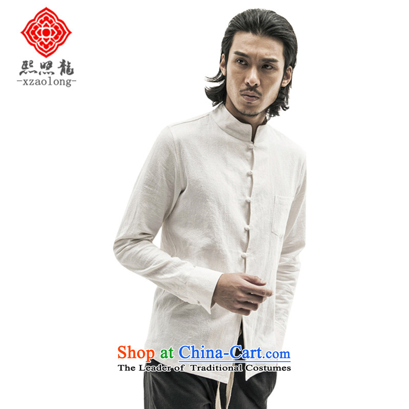 Hee-Snapshot Loaded new autumn Lung Men cotton linen long-sleeved shirt collar tray clip Sau San shirt leisure China wind men White聽XL