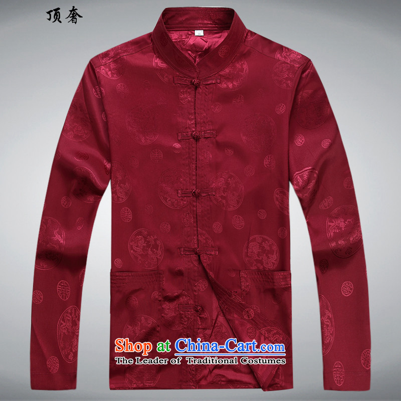 Top Luxury of older men Chun Tang dynasty in the summer and autumn of ethnic father Father casual China wind long-sleeved Kit - round dragon long-sleeved red kit Tang plus?175 Pants Shirts