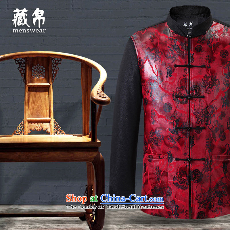 Genuine silk possession stamp male Tang dynasty cotton coat in older China wind Chinese collar disc detained banquet father red�0_XXXL 0729-24-3555