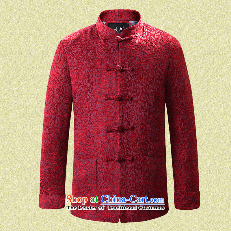 9National men hiding Tang dynasty wedding banquet dress father boxed cotton coat collar up Chinese Wind Chinese Blue Coat 0716 single 170/M, Tibetan Silk , , , shopping on the Internet