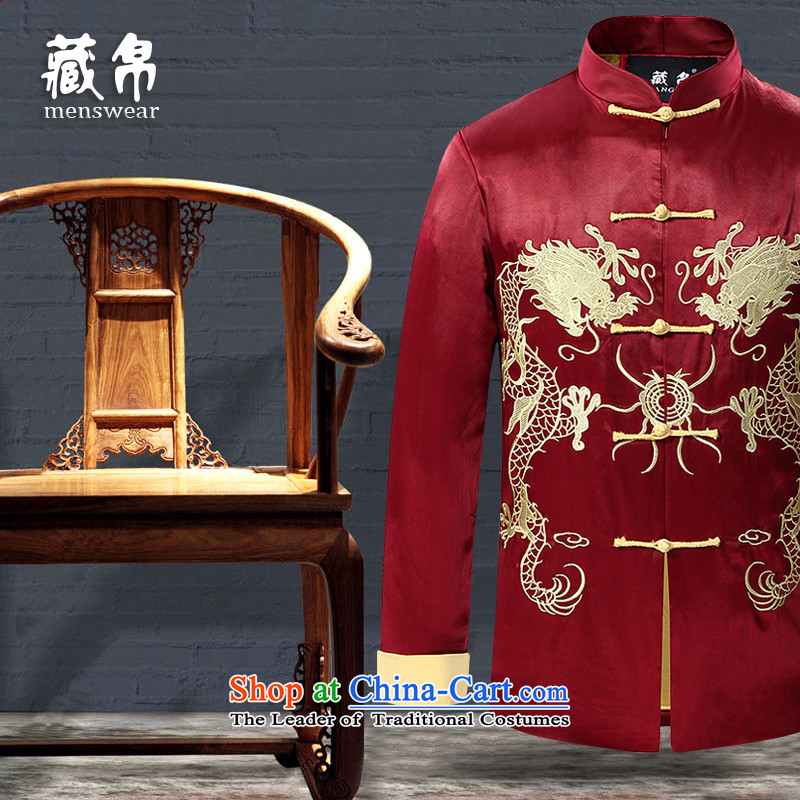Possession silk embroidered dragon design autumn and winter jackets Tang festive wedding banquet on large new special package mail  175_L middle-aged Huanglong