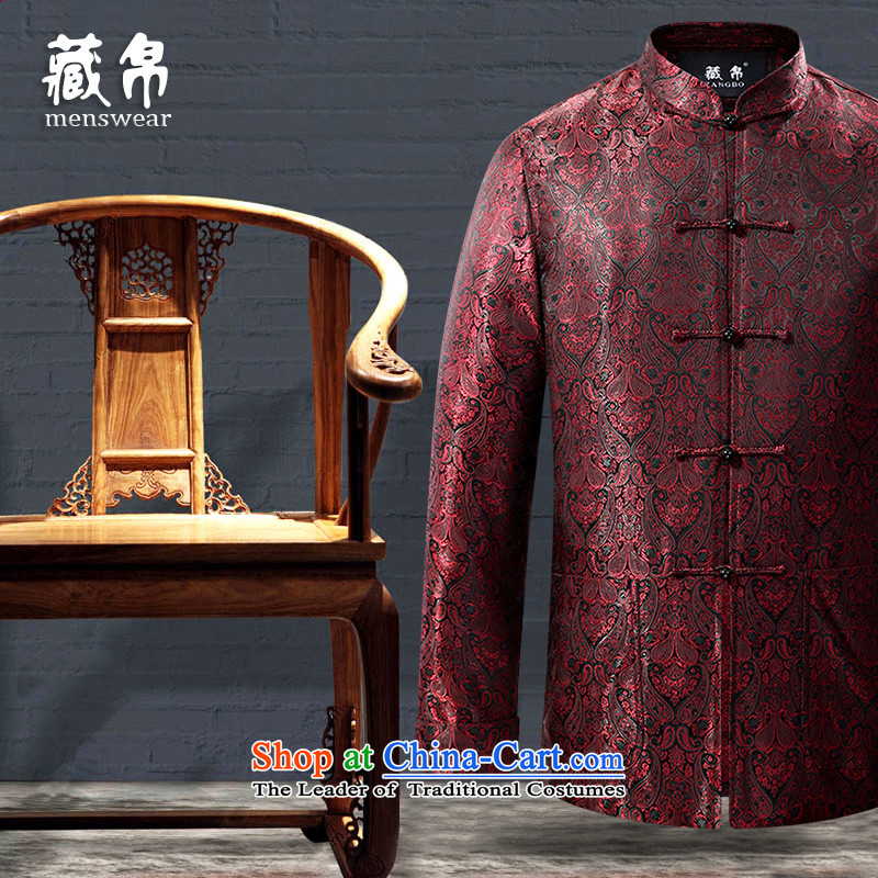 8D 2015 Fall/Winter Collections men Tang jackets wedding banquet on large middle-aged new special clearance Package Mail Red 180/XL 0727