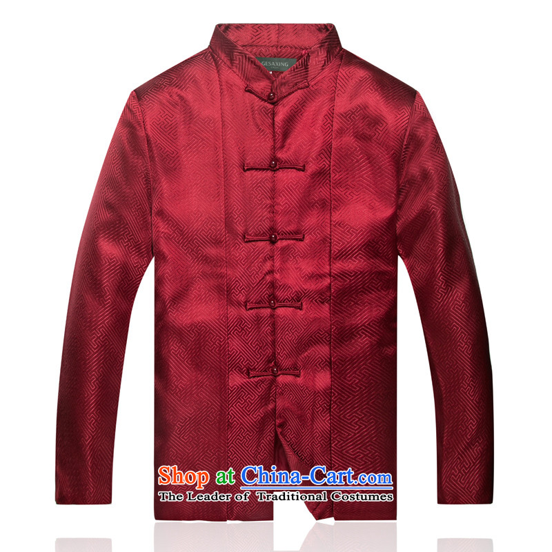 Bosnia and thre line China wind of autumn and winter New Men Tang Dynasty Chinese clothing Men's Mock-Neck Han-the Chinese Tang dynasty F7711 wine red XXL