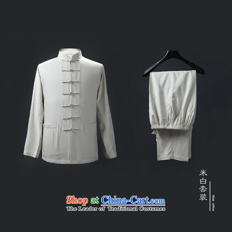 Genuine friendship and possession of long-sleeved shirt, autumn and winter Tang dynasty, forming the Netherlands cotton linen china wind in the national costumes of older kit m White Kit�0