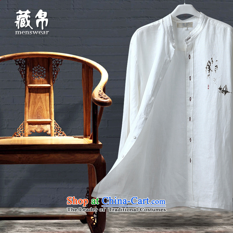 9autumn possession linen long sleeved shirt, forming the Netherlands Father Tang dynasty China wind in national costumes 158613 185/XXL older white