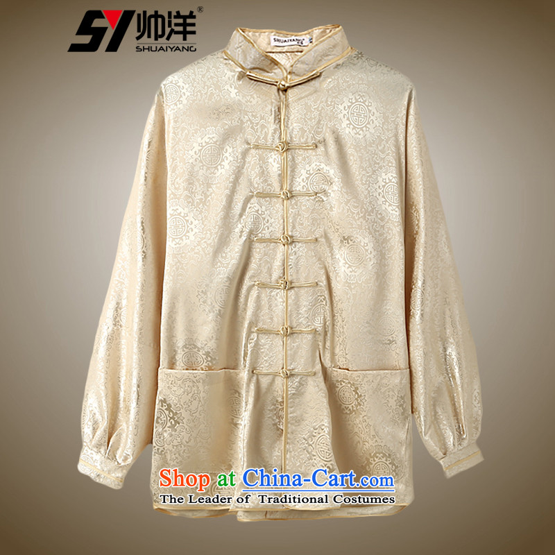 The ocean autumn 2015 Installed Shuai Chinese Tang dynasty and long-sleeved shirt tai chi services morning exercise Roh loose China wind Yellow�XL