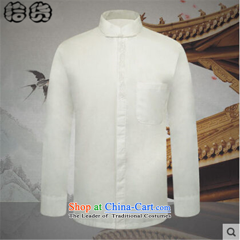 The 2015 autumn pick the new man in his grandfather father of older persons Tang blouses minimalist white men pure color shirt white燲XXXL Leisure