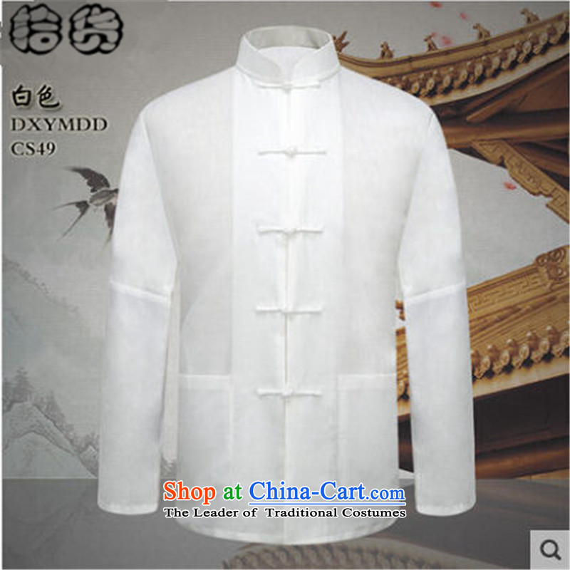 The 2015 autumn pick new men of older persons in the father grandfather replacing forming the cotton linen clothes Men's Mock-Neck Shirt with white linen white men燬