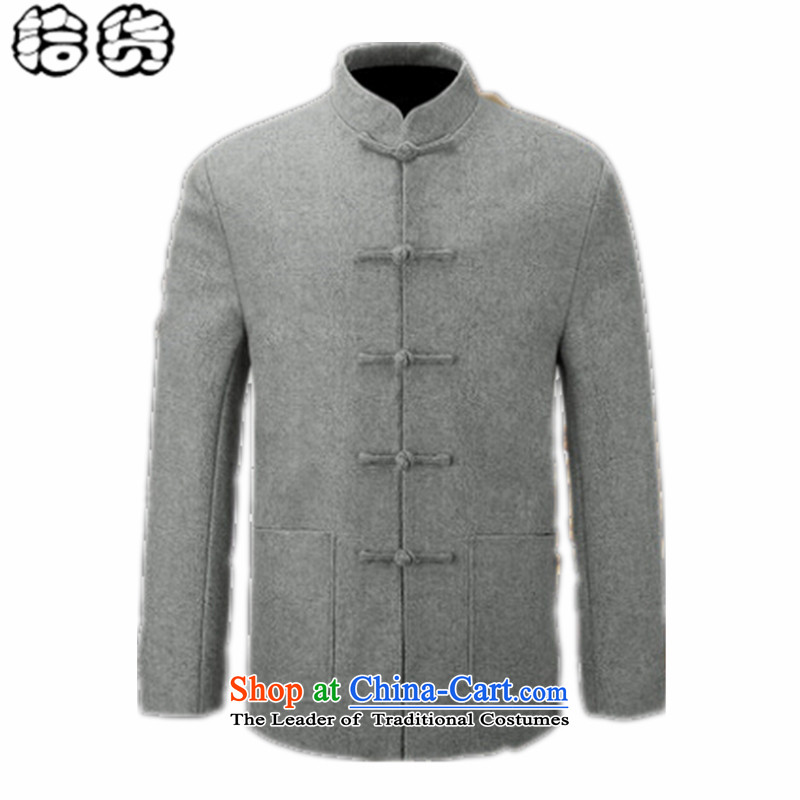 The 2015 autumn pick the new China wind load father of men fall minimalist pure color is detained in Tang Dynasty older men's jackets for larger jacket gray聽170