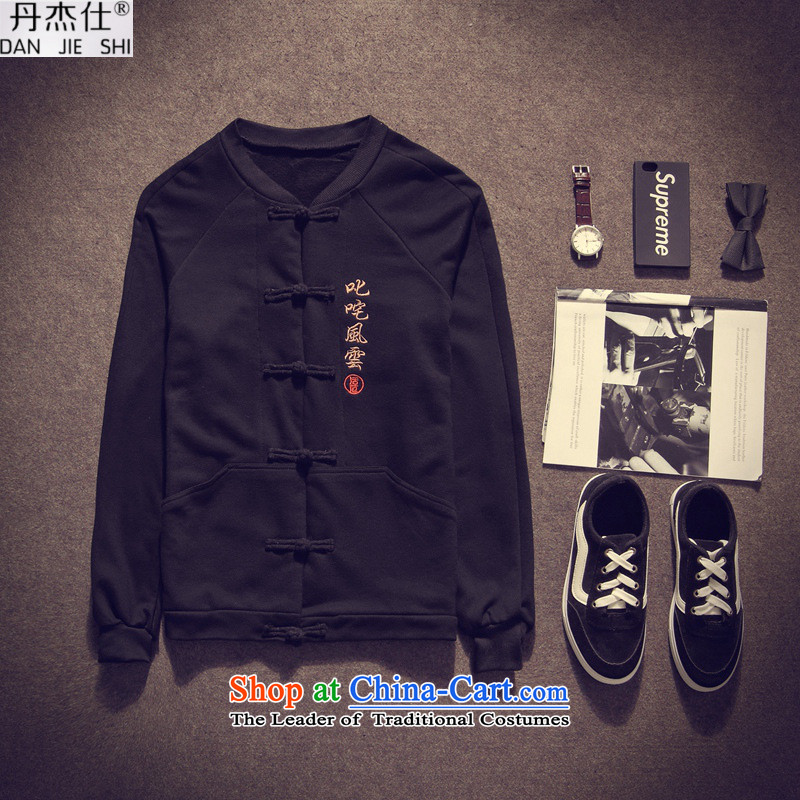 Dan Jie Shi 2015 urban youth recreation fashion men China wind up large tie sweater kung fu services personalized male and characteristics of Tang Dynasty black L