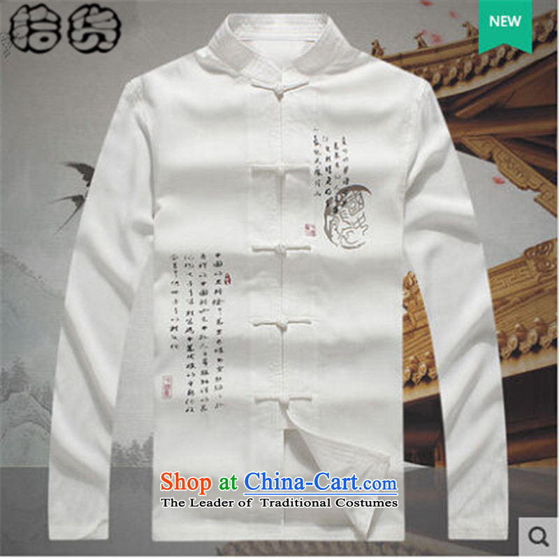 The 2015 autumn pick new Tang dynasty men of older people in China wind paintings and stamp men jacket with grandpapa birthday in autumn life jacket White聽190