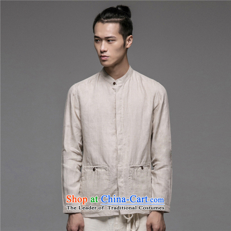 Dan Jie Shi 2015 New China wind improved version of Tang Dynasty literary men and leisure boutique art shirt khaki�5_92
