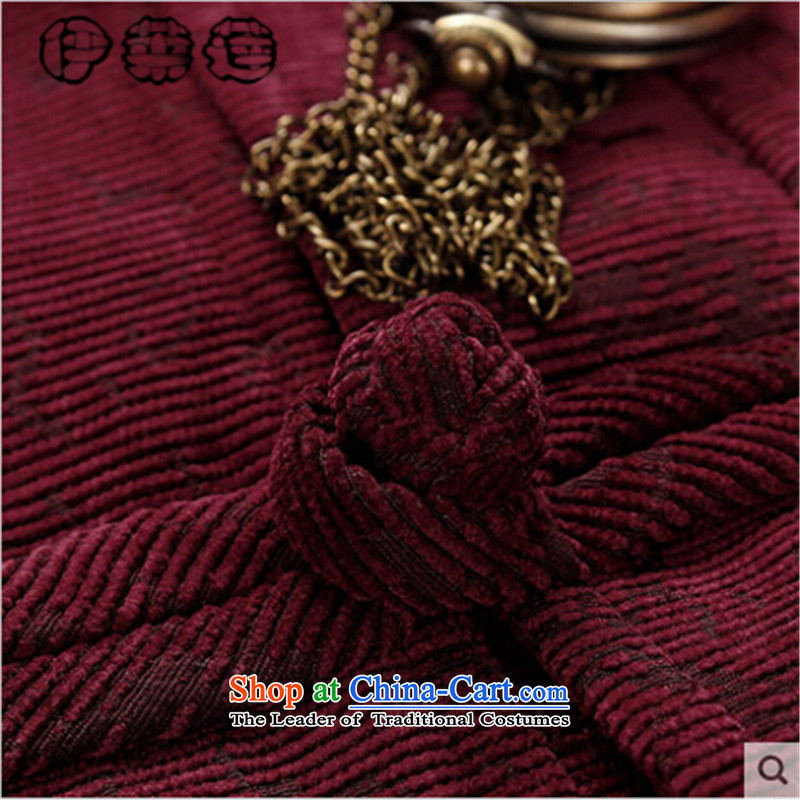 Hirlet Ephraim 2015 autumn and winter new men of the elderly in the Tang dynasty fluff edge with thick grandpa jackets and pure color China wind male straight male聽XXXL, deep blue yele Ephraim ILELIN () , , , shopping on the Internet