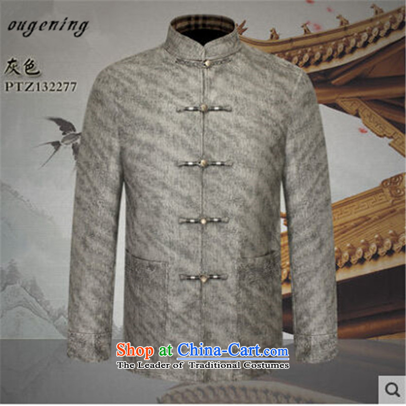 The name of the grid autumn 2015 OSCE new products men China wind quality leather jacket from older Tang Chinese PU Chinese shirt and gray?M