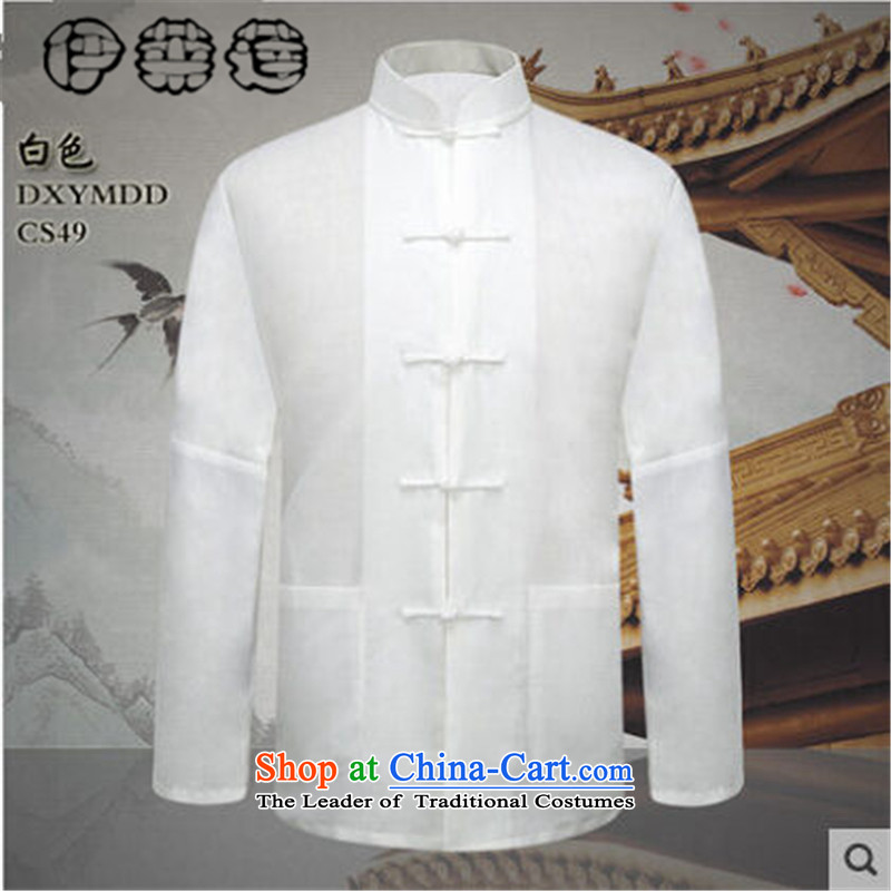 Hirlet Ephraim 2015 new product lines for autumn and winter by men of older persons in the linen long-sleeved shirt and China wind Chinese solid color cotton linen, forming the Netherlands shirt male figure color燲L