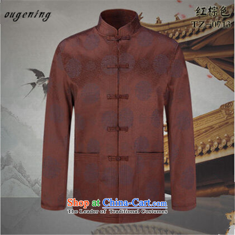 The OSCE, 2015 Autumn and Winter, of the name of the new products with ethnic grandpa father Chinese PU T-shirt jacket men aged PU jacket red and brown�190