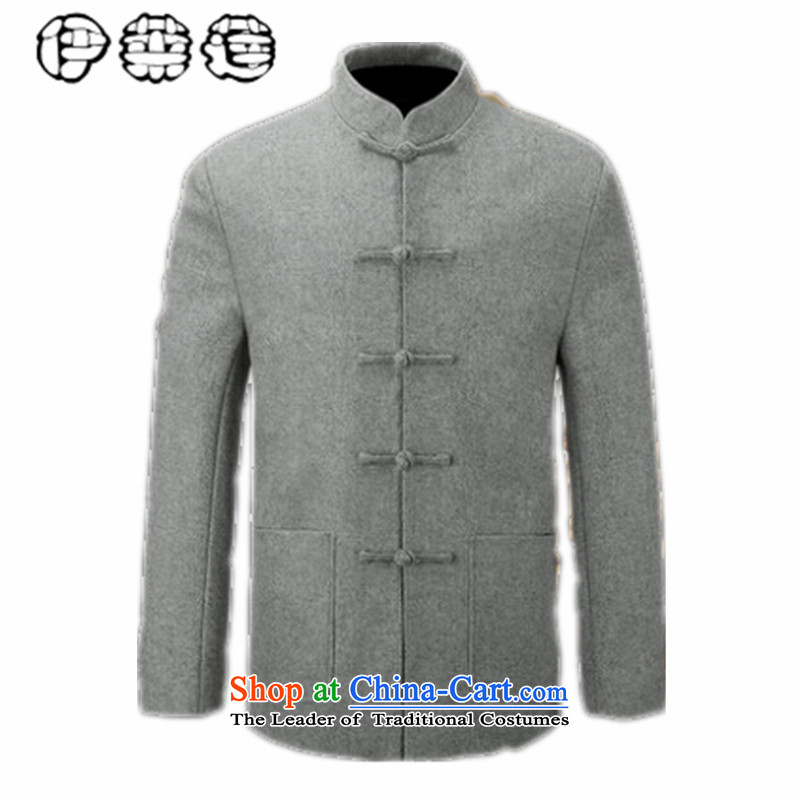 Hirlet Ephraim 2015 new product lines for autumn and winter by men of ethnic Chinese Tang blouses and father grandpa load jacket use Sub Male Leisure Chinese shirt gray 170