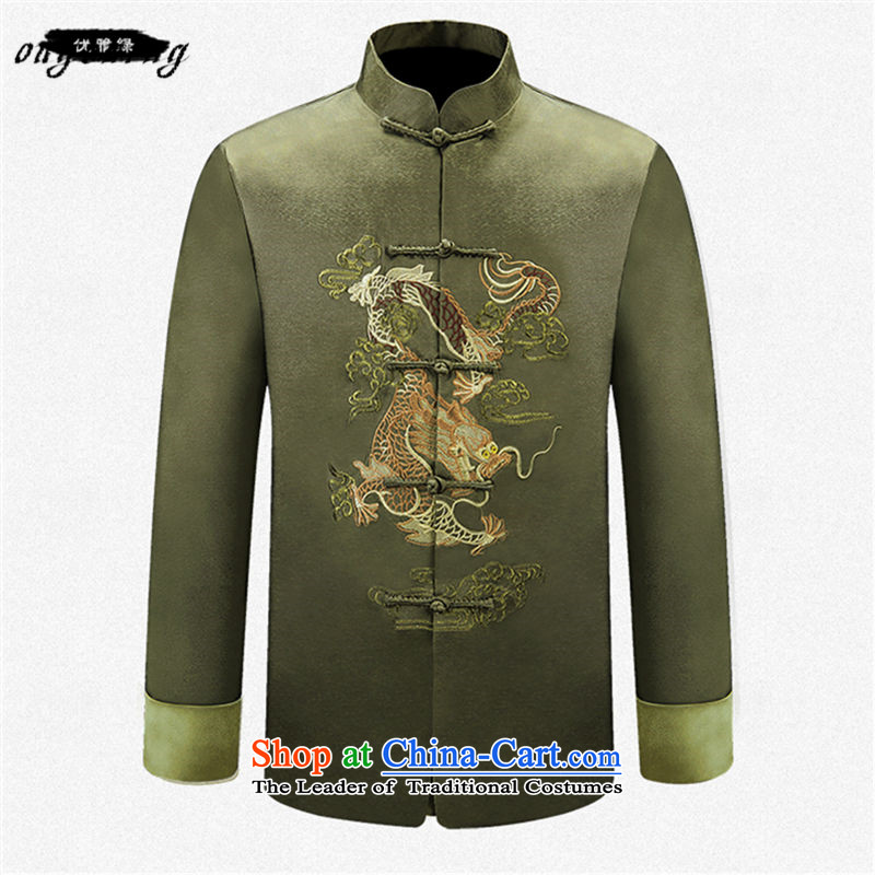 The name of the 2015 autumn of the OSCE New China wind in older men Dragon pattern collar long-sleeved blouses coats of Grandpa father elegant Green聽180