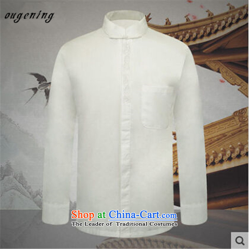 The name of the 2015 autumn of the OSCE New China wind in older Men's Mock-Neck Chinese long-sleeved solid color of older persons in the jacket White燤 T-Shirt