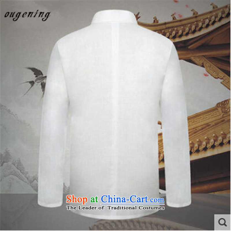 The name of the 2015 autumn of the OSCE New China wind Men's Mock-Neck Shirt snap-men wear long-sleeved shirt Tang Dynasty Chinese white T-shirt , L, OSCE, lemonade (ougening) , , , shopping on the Internet
