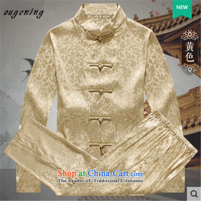 The name of the 2015 autumn of the OSCE New China wind in Tang Dynasty older collar long-sleeved kit men shirt Tang dynasty father grandfather replacing yellow燲XL