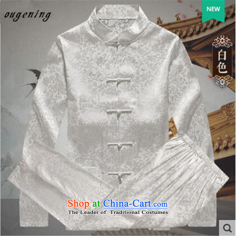 The name of the 2015 autumn of the OSCE New China wind in Tang Dynasty older collar long-sleeved kit men shirt Tang dynasty father grandfather replacing yellow聽XXL, OSCE (ougening lemonade Grid) , , , shopping on the Internet