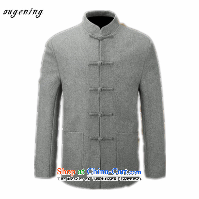 The name of the 2015 autumn of the OSCE New China wind in older disk Tang dynasty detained a T-shirt dad gross grandpa replacing men long sleeve jacket coat gray聽190