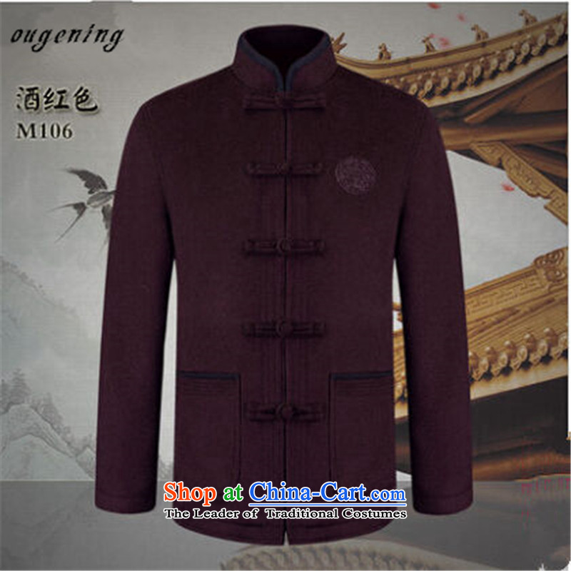 The name of the 2015 autumn of OSCE, in New China wind nation of older Tang dynasty gross? boxed long-sleeved jacket Dad Grandpa Mock-Neck Shirt Solid Color wine red 175