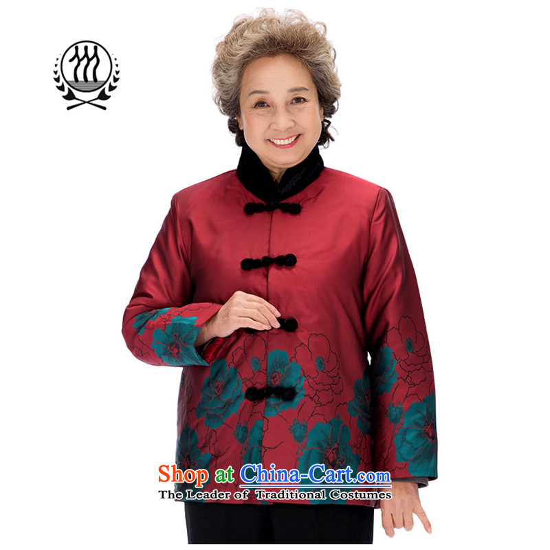 Bosnia and the elderly in the line thre Ms. winter coat winter robe mother with Ms. China wind collar stamp improved cotton coat jacket F0891 red women XXL