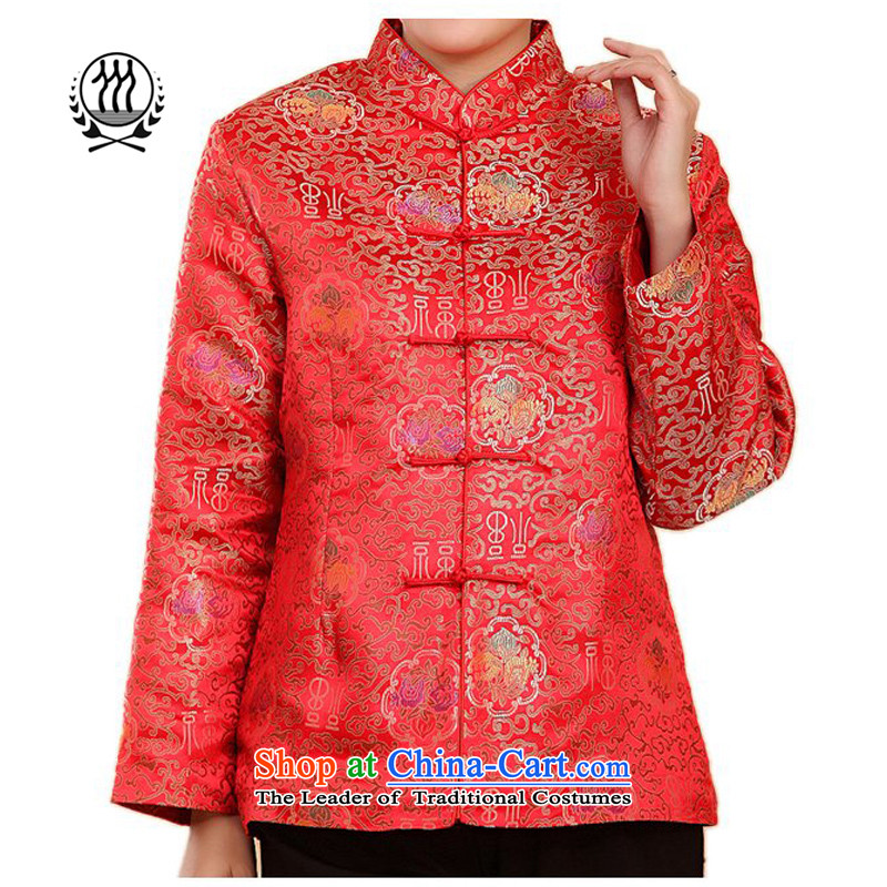 The new line of Bosnia and thre well field in the older President Tang Dynasty ?t¨°a National wind in older collar disc clip down Ms. Tang Gown robe of jacket down well large red women XXL