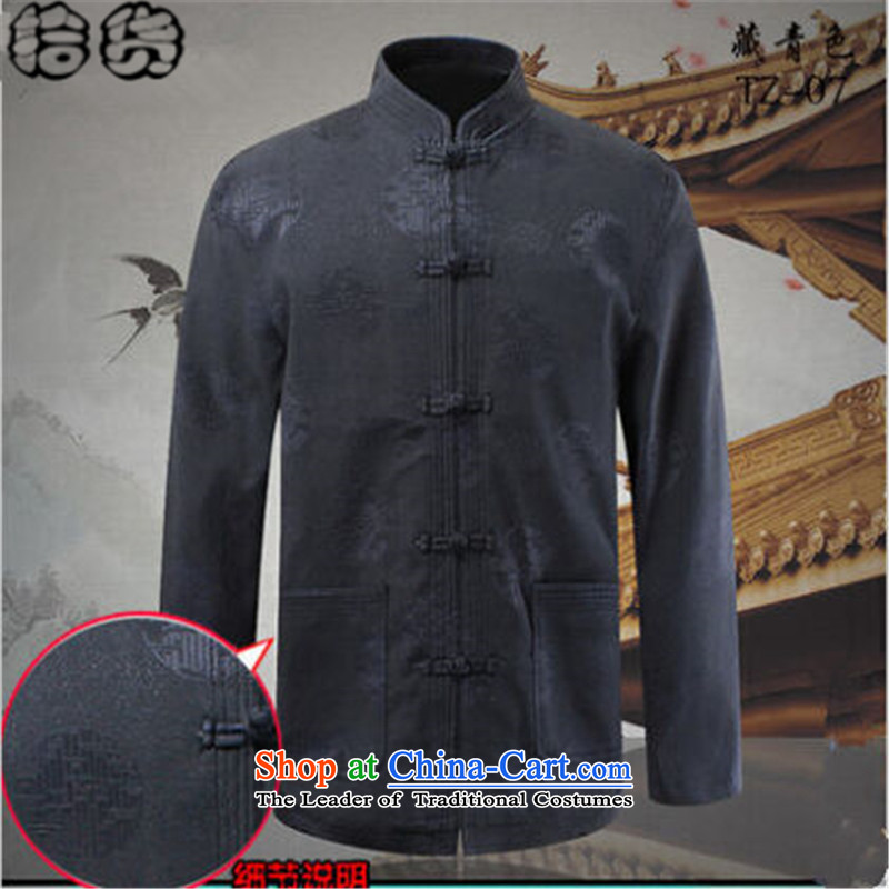 The 2015 autumn pickup of older persons in the new national wind load grandfather Tang blouses men Chinese leisure father jackets Navy Blue聽180