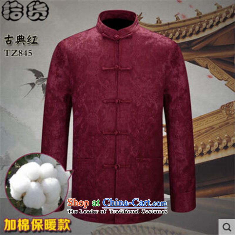 The Fall 2015 pickup) older men father boxed long-sleeved shirt with Tang Dynasty kung fu large jacket disk shirt clip Chinese tunic red plus?1.8 cotton