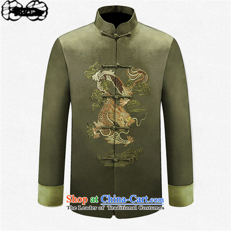 The 2015 autumn pick new Tang dynasty of older persons in long-sleeved shirt embroidery Male Male Male Tang Jacket coat elderly father replace elegant green clothes聽170