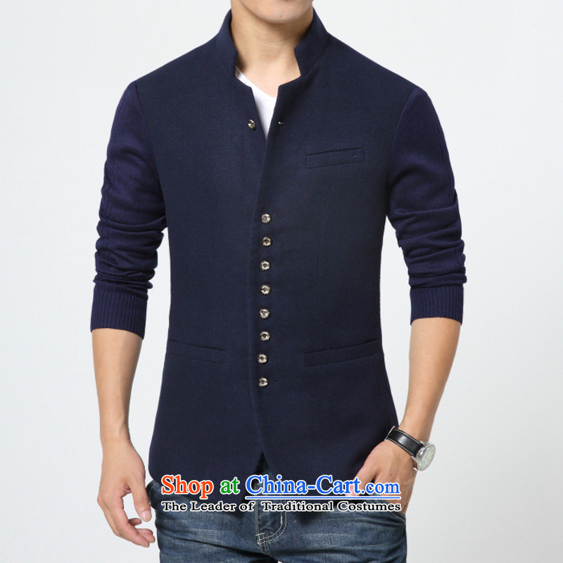Dan Jie Shi autumn new stylish men suits tablets detained collar single stylish West Chinese tunic dark blue燣
