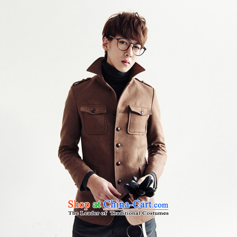 Dan Jie shi qiu load new Korean jacket leisure gross Sau San? The jacket collar retro Chinese tunic male and coffee燲XL