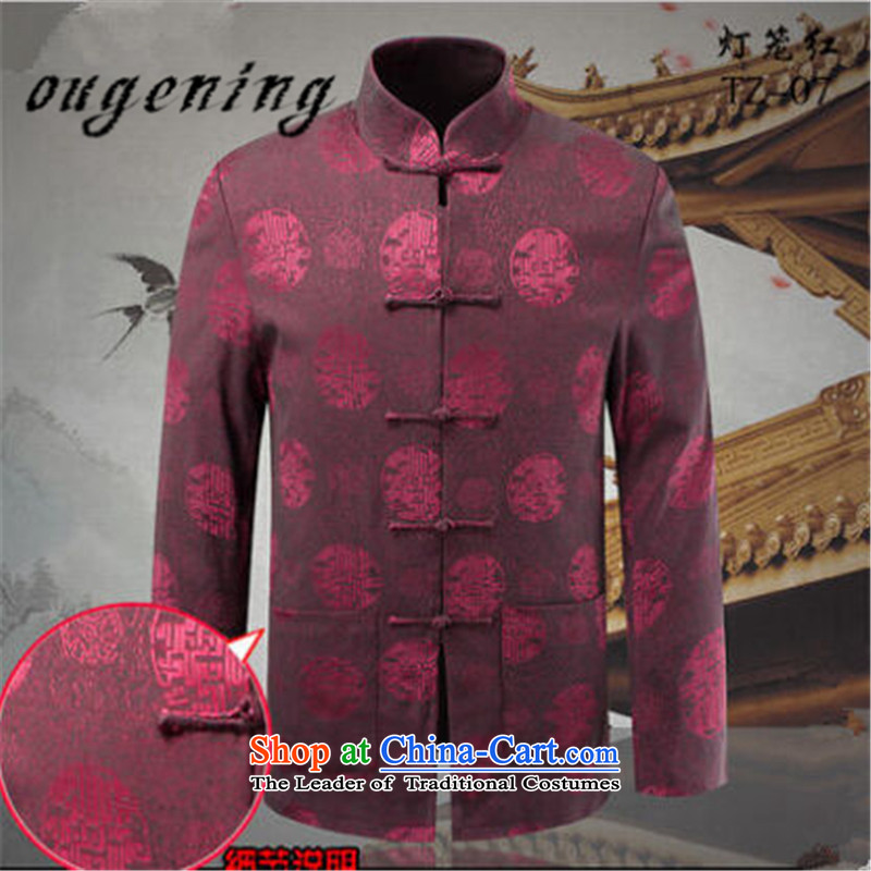 The name of the 2015 autumn of OSCE, older persons in the new Chinese leisure Tang jackets father installed China wind retro long sleeve mock grandpa replacing lanterns Red聽175