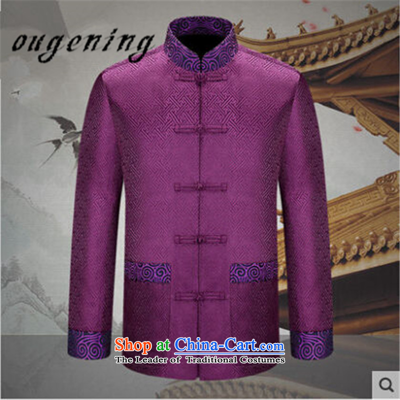 The name of the 2015 autumn of the OSCE new Chinese men's China Wind Jacket coat Dad Tang replacing older classical stamp grandpa jackets and noble purple聽170