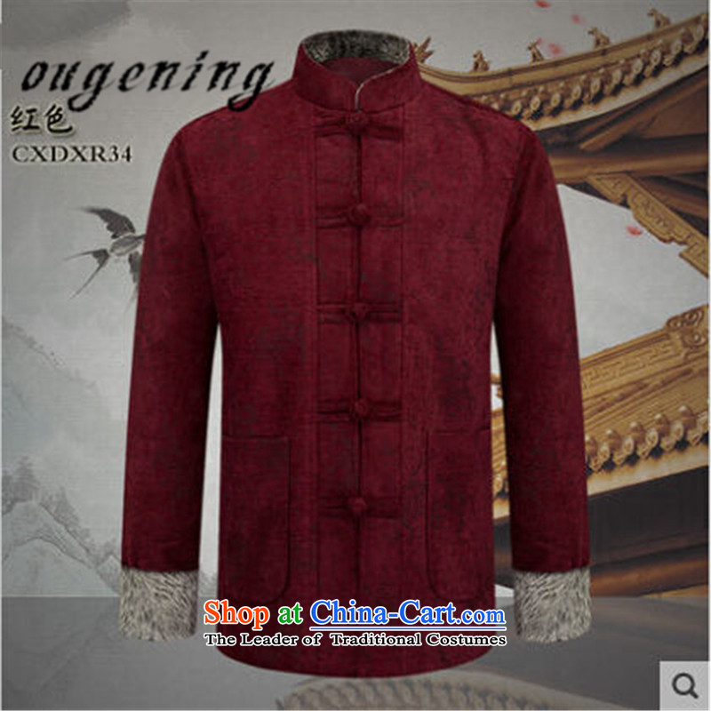 The name of the 2015 autumn of the OSCE new men of the elderly in the Tang dynasty fluff Edging thickness with Grandpa l jacket China wind up the word retro buttoned, Red燲L