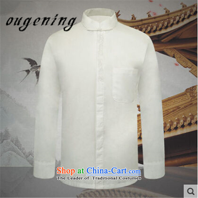The name of the 2015 autumn of the OSCE new collar men inside the Chinese Tang dynasty grandpa shirt China wind father casual shirt with white cotton shirt map color聽XL