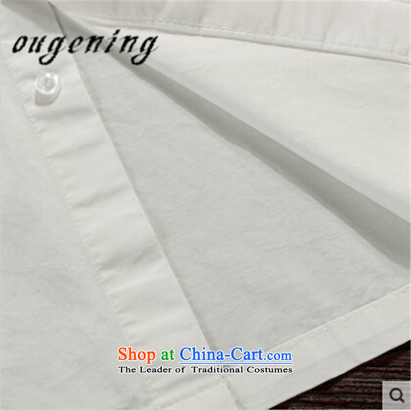 The name of the 2015 autumn of the OSCE new collar men inside the Chinese Tang dynasty grandpa shirt China wind father casual shirt with white cotton shirt color聽XL, OSCE, Figure (ougening lemonade shopping on the Internet has been pressed.)