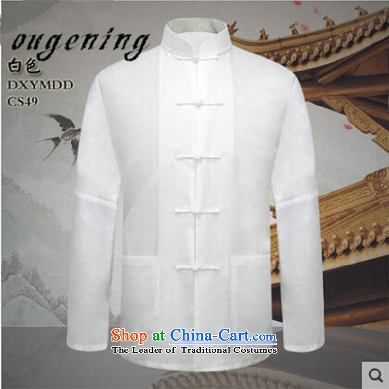 The name of the 2015 autumn of the OSCE new men in both the father of older persons a solid color cotton linen long-sleeved shirt with grandpapa, forming the exercise of linen clothes shirt shirt White燲XL