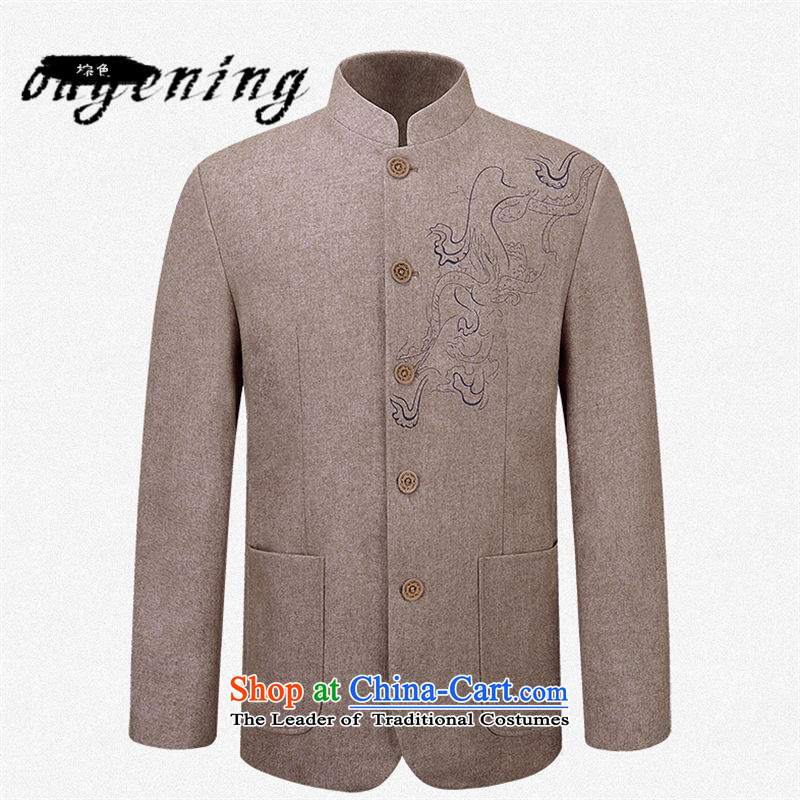 The name of the 2015 autumn of the OSCE new grandpa casual Tang jackets men China wind Chinese Mock-Neck Shirt of older persons in the replace brown聽185 Grandpa