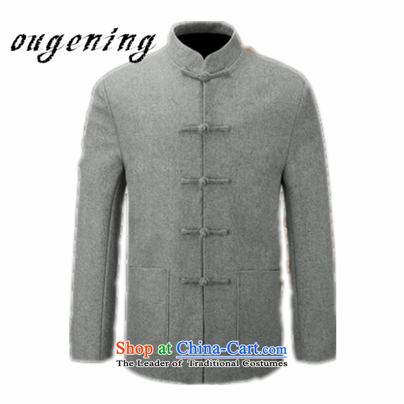 The name of the 2015 autumn of the OSCE new men's woolen a collar installed use Sub Male father leisure l grandpa installed China wind retro Tang jackets gray聽185