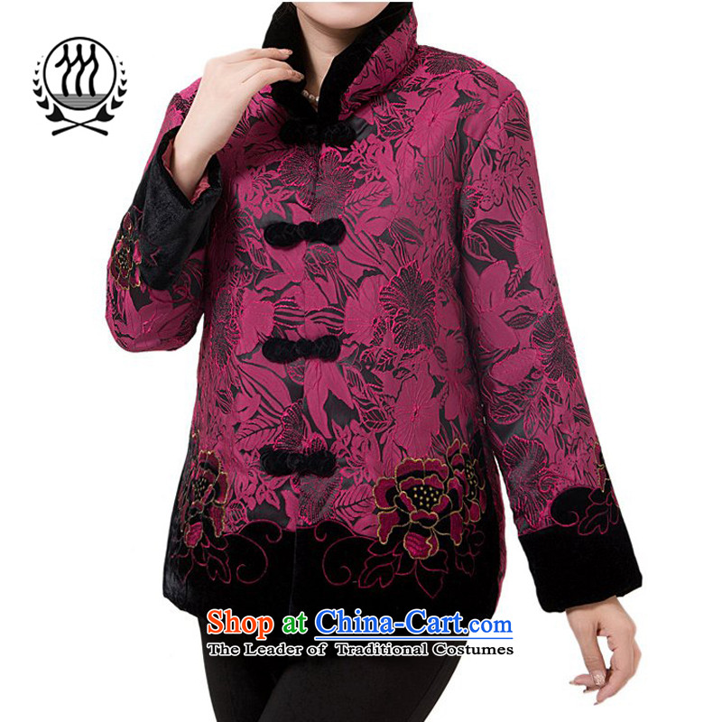 The new line of Bosnia and thre attired in Tang Dynasty older autumn and winter, cotton China wind Chinese elderly in the collar Ms. Tang Gown robe grandma F851 jacket purple women XXL
