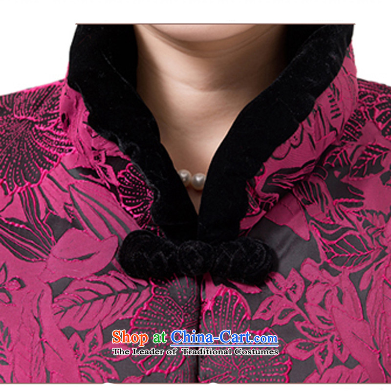 The new line of Bosnia and thre attired in Tang Dynasty older autumn and winter, cotton China wind Chinese elderly in the collar Ms. Tang Gown robe grandma F851 jacket purple women XXL, thre line (gesaxing and Tobago) , , , shopping on the Internet
