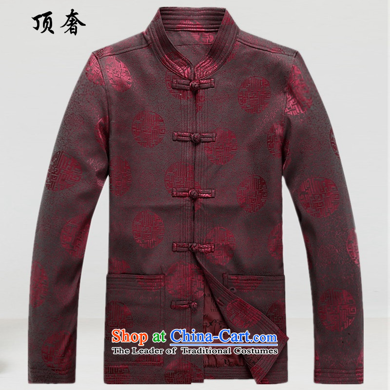 Top Luxury of autumn and winter, older men Tang blouses loose fit large long-sleeved sweater blue dress jacket dad too life inside the circle of Dragon red A6938聽XL_180_