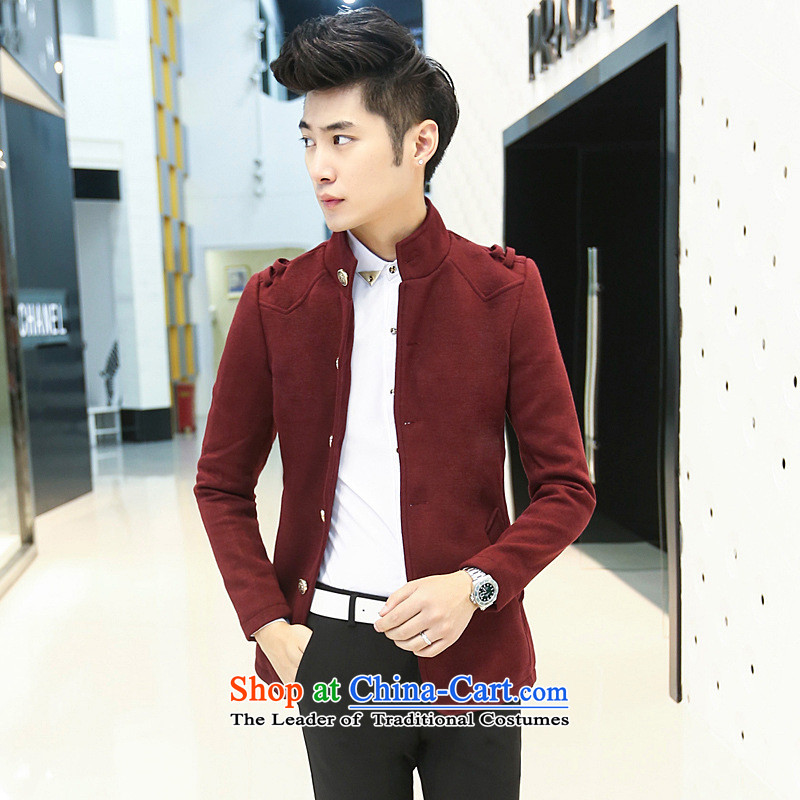 Men's Chinese tunic windbreaker Dan Jie Shi 2015 Youth trendy casual Chinese tunic windbreaker Korean Sau San? The windbreaker retro jacket and wine red?XXL equivalent to larger