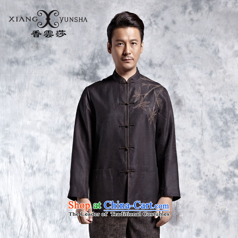 Elizabeth cloud of incense China wind elegant embroidery on business or leisure silk yarn menswear cloud of incense T-shirt and Tang dynasty silk coffee-colored燣